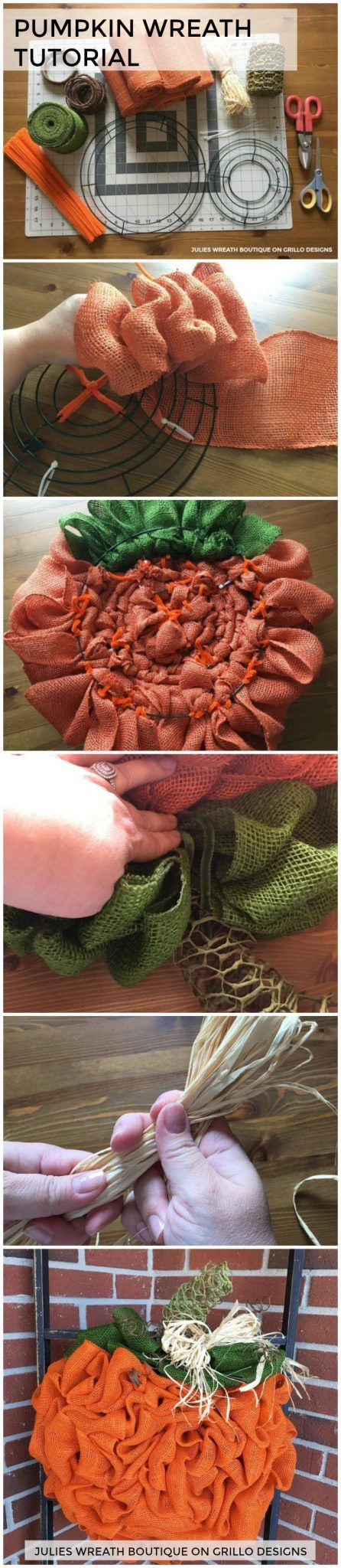 Ever wondered how to make a DIY pumpkin wreath? This tutorial by Julie Oxendine will show you step by step how to make the perfect pumpkin wreath for Fall! So grab your burlap and lets get crafting!