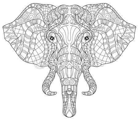 Elefante cabeza doodle en bosquejo blanco vector. — Vector de stock ...