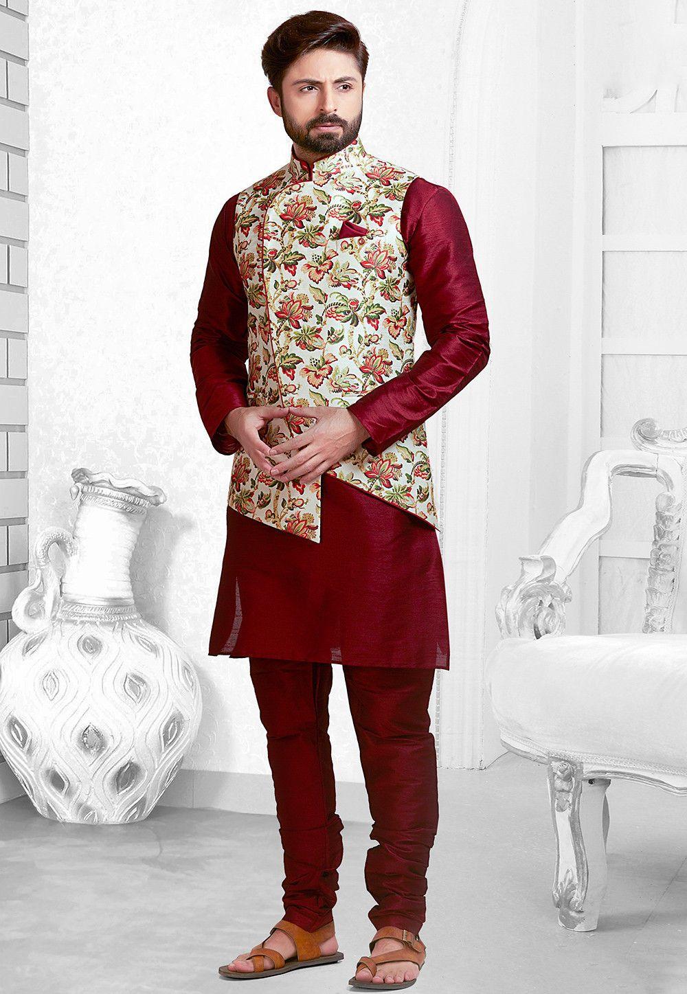Buy online Digital Printed Art Silk Kurta Pajama Set in