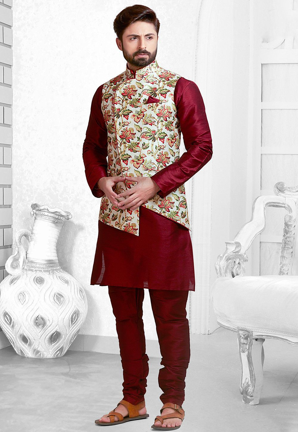 52e8672185 Buy online Digital Printed Art Silk Kurta Pajama Set in Maroon now, Item  code: MHG964, Color: Red, Occasion: Wedding, Festive, Fabric: Art Silk, ...
