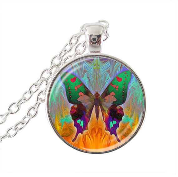 vintage jewelry butterfly necklaces glass dome pendant necklace silver chain choker animal statement necklace women jewellery