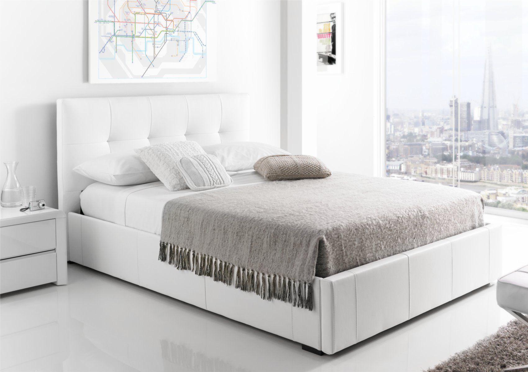 ... Storage Drawer Bed - White Leather £279 //.time4sleep.co.uk/beds/storage-beds/kaydian-hexham-upholstered- storage-drawer-bed-white-leather & Kaydian Hexham Upholstered Storage Drawer Bed - White Leather £279 ...