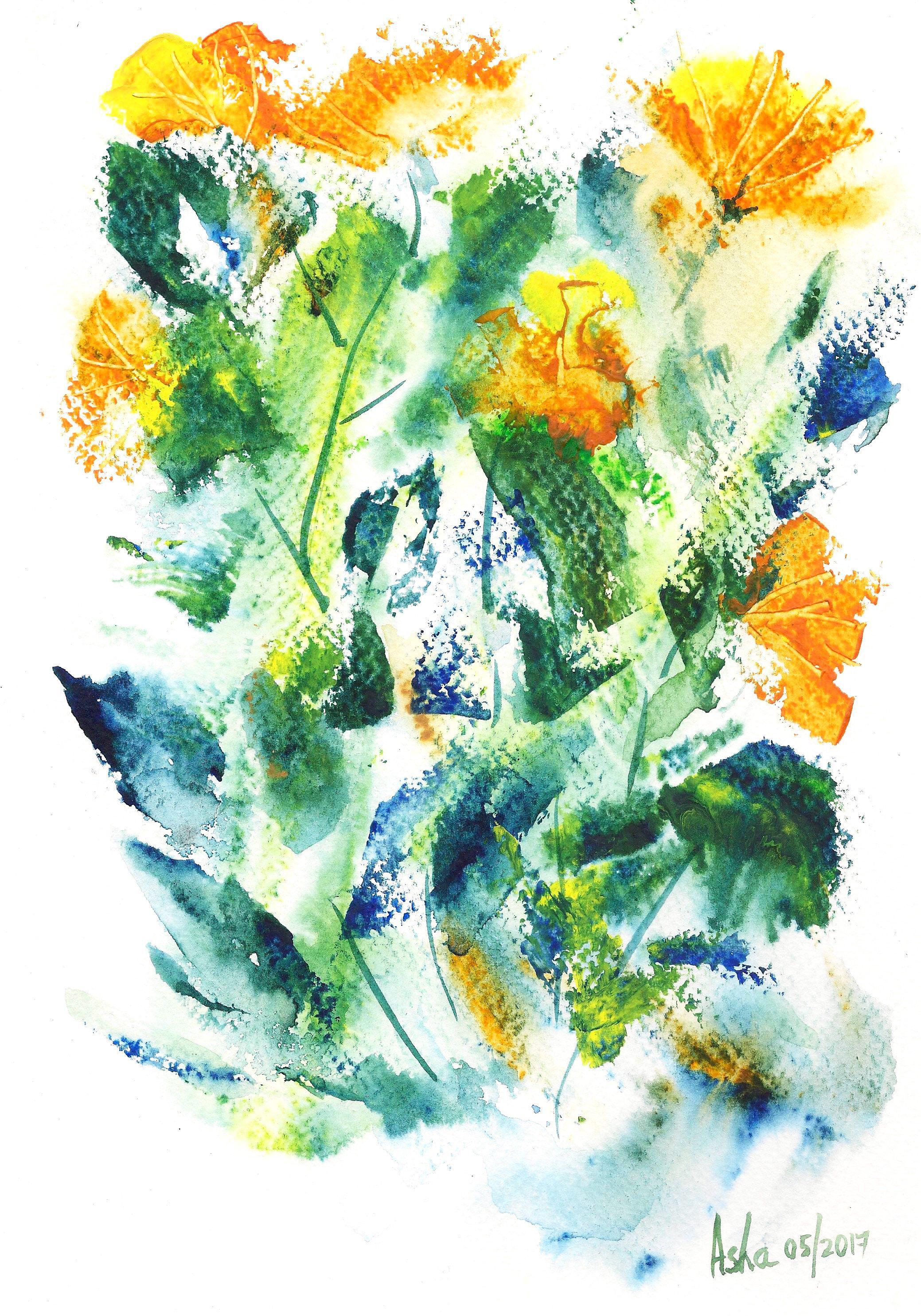 Yellow Floral Art Original Watercolor Art Affordable Art Yellow