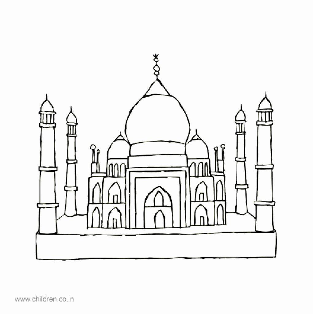 Taj Mahal Coloring Page Beautiful Taj Mahal Cartoon Drawing At Getdrawings Coloring Pages Colour Architecture Color