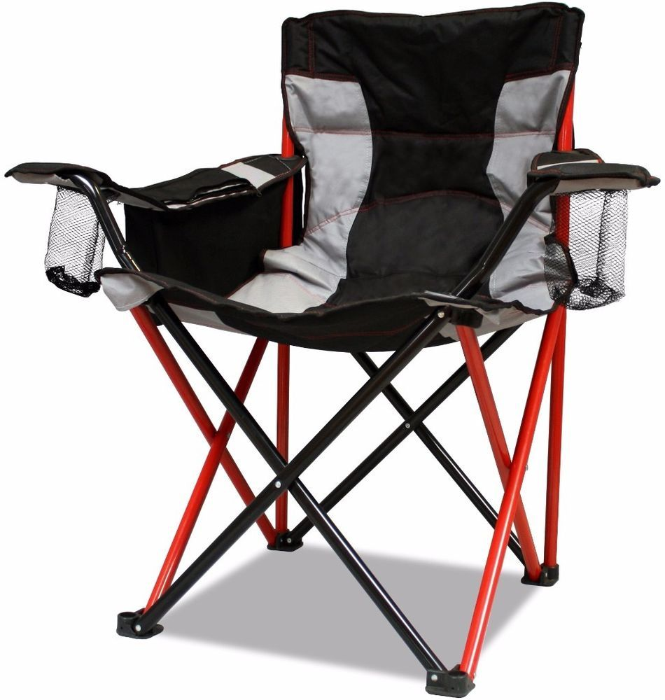 Elite Quad Red Camping Chair Powdercoated Steel Frame
