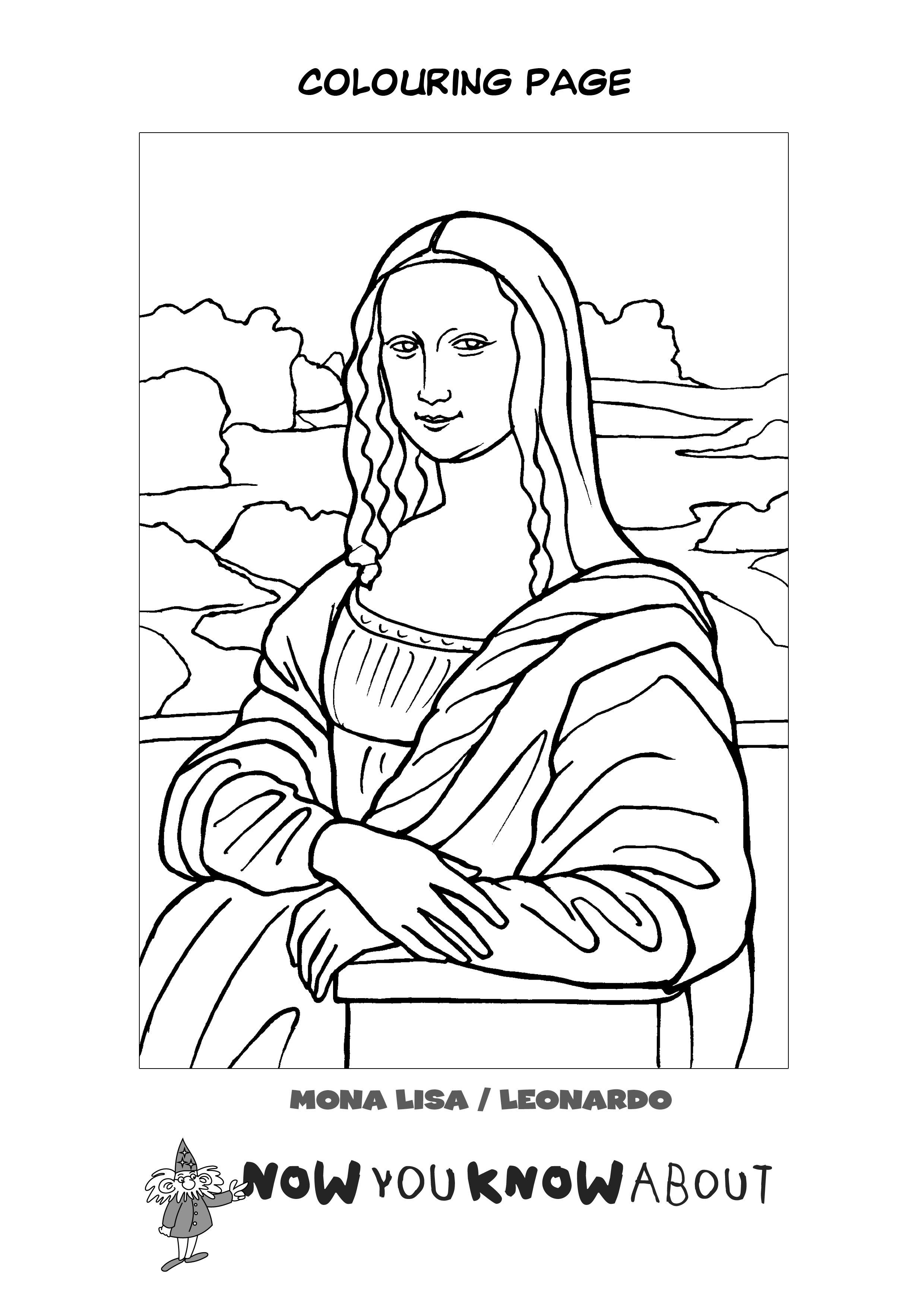Watch the story of Leonardo da Vinci and then colour in