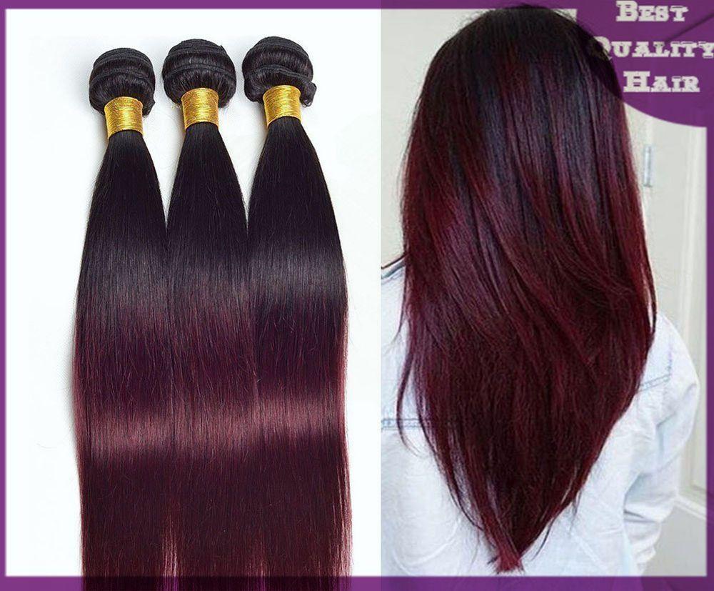 3bundles Ombre Remy Human Hair Weaves Straight Brazilian Hair