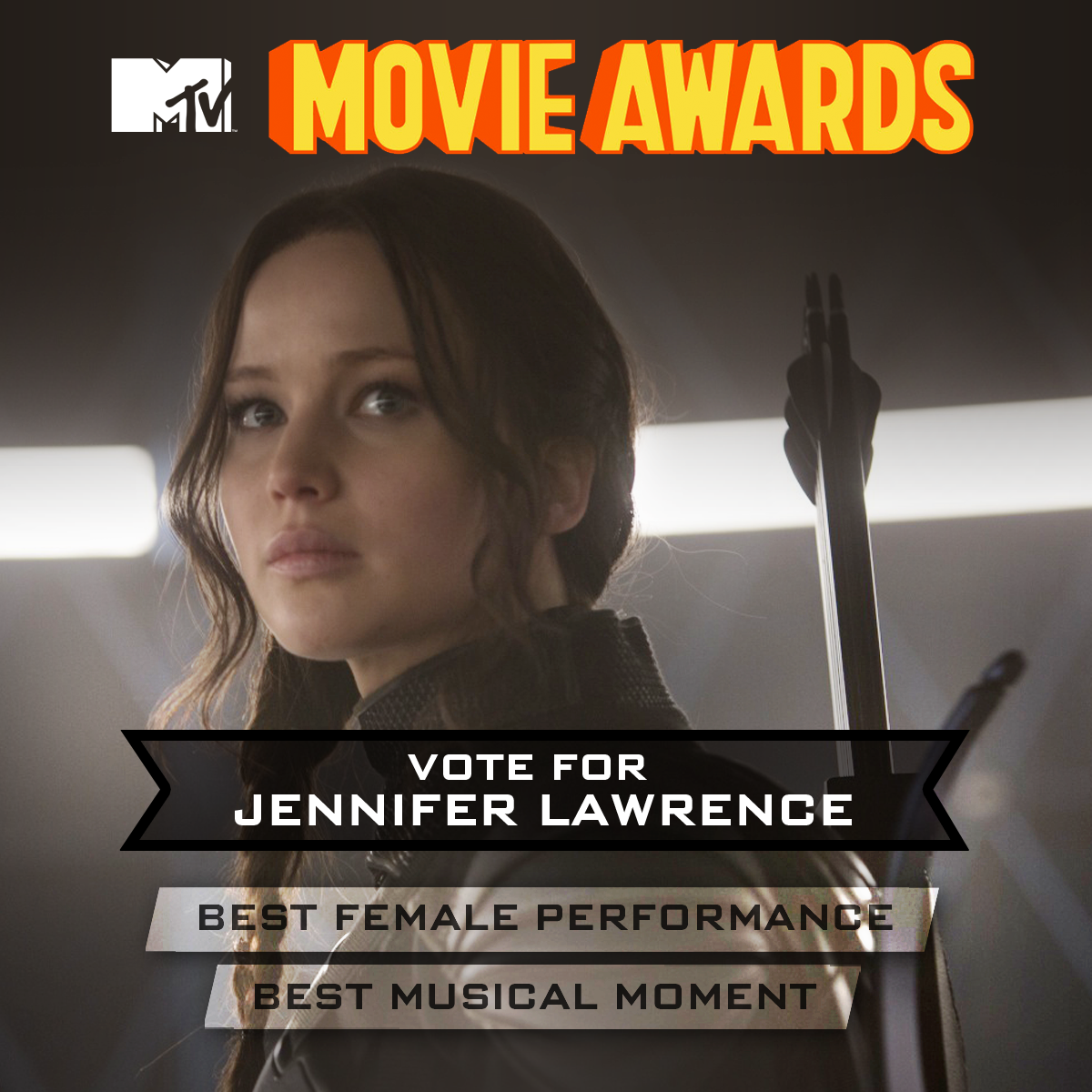 "Jennifer Lawrence is nominated for TWO MTV #MovieAwards - Best Female Performance and Best Musical Moment ""The Hanging Tree""! Vote NOW!"