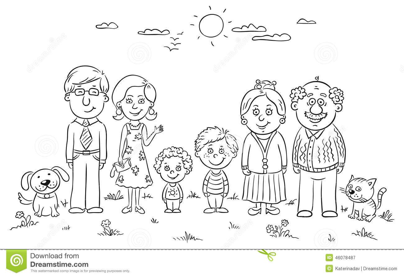 Big Happy Family Stock Vector Image 46078487 Family Coloring