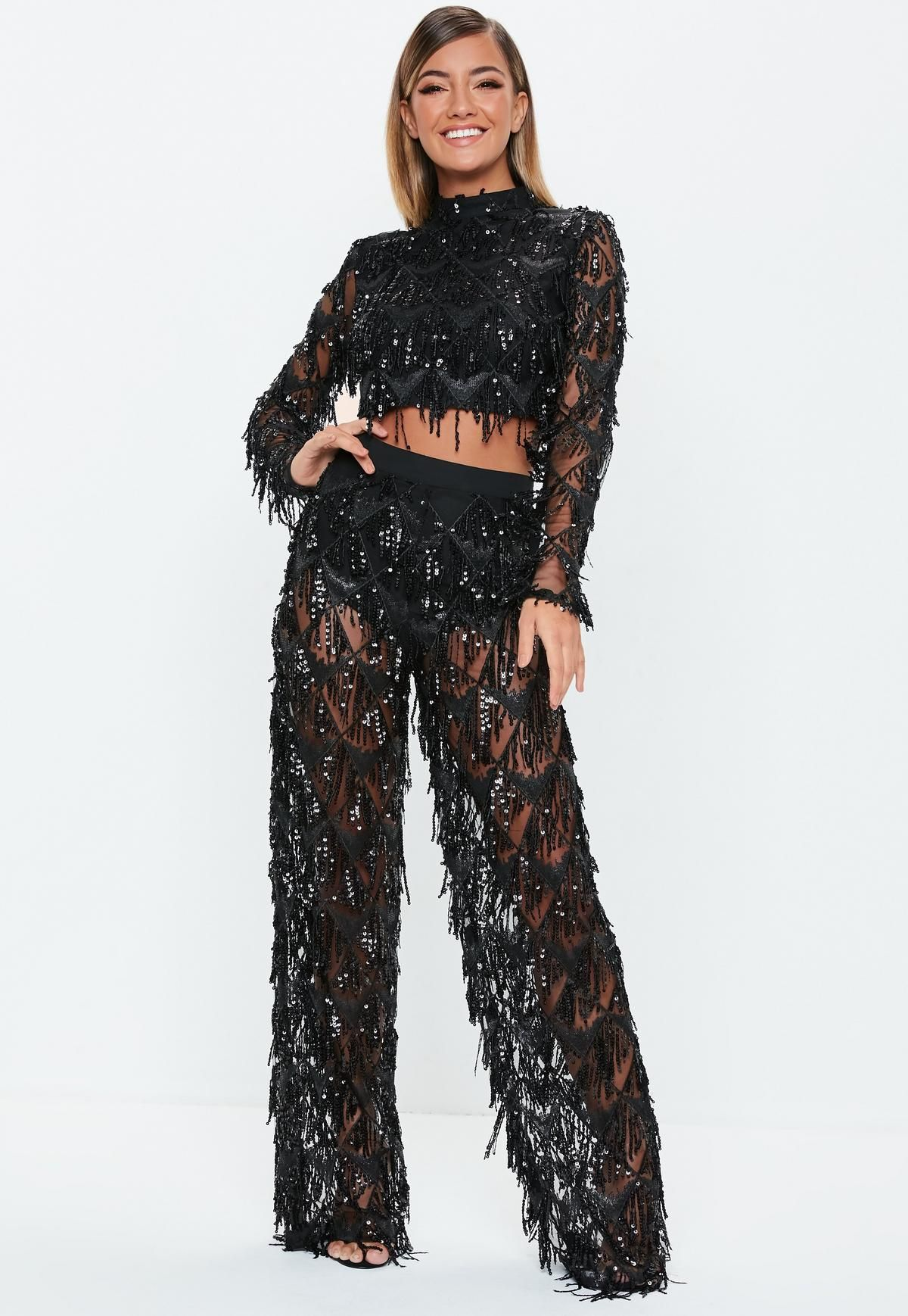 fa866983d8731 Black Fringe Sequin Mesh Pants | Halloween | Mesh pants, Fringe ...