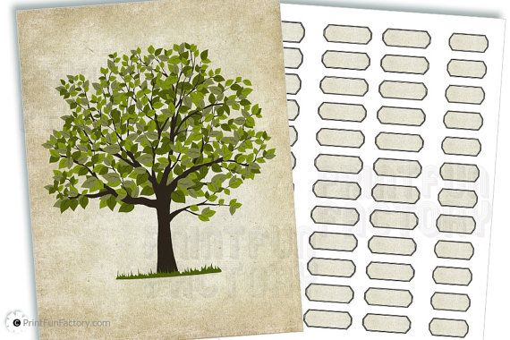 Family Tree Printable Papercraft Aged Look Pc002 Instant