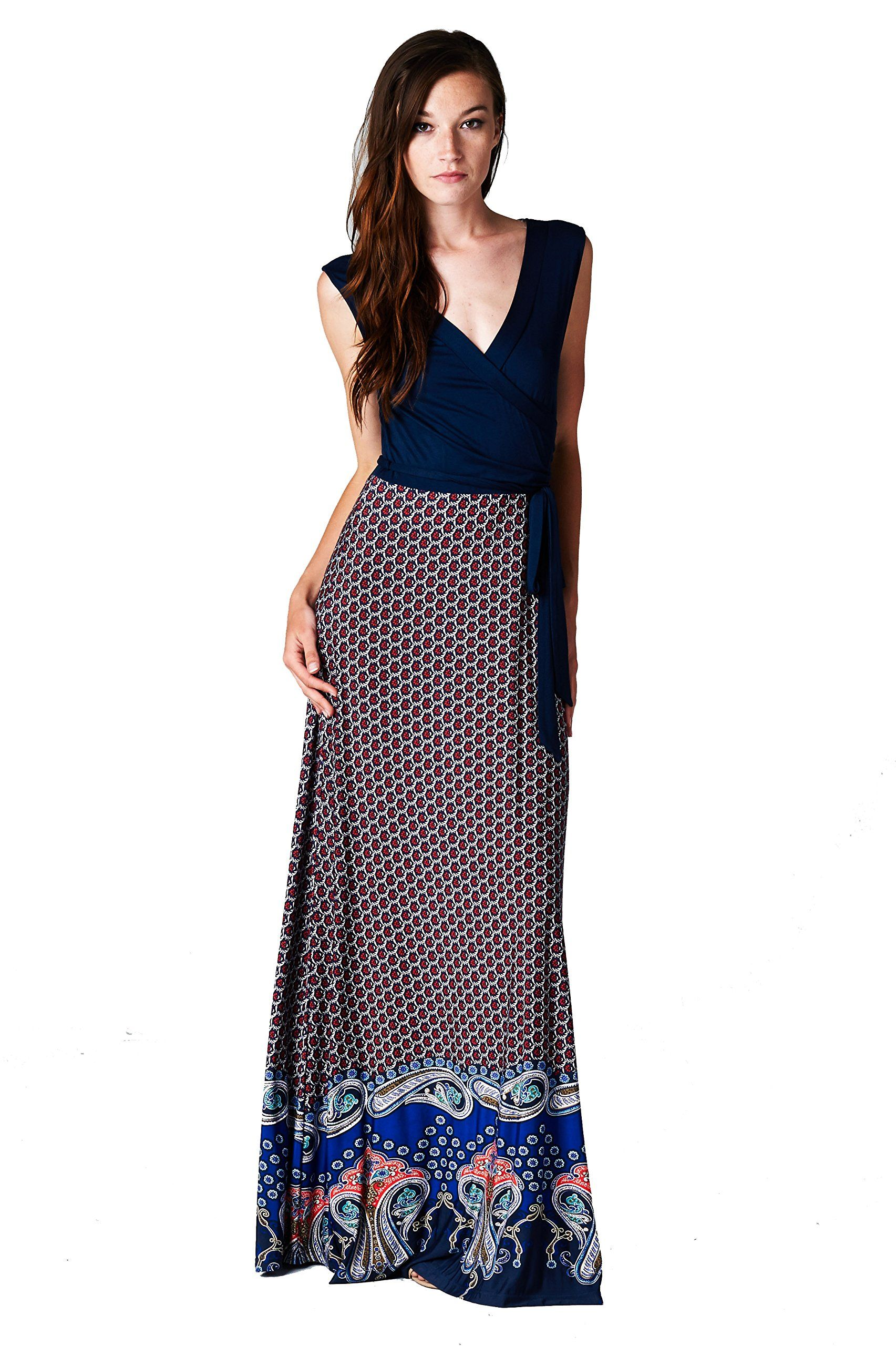 970a080f93b On Trend Claire Chevron Bohemian Dotted Print Color Block Sleeveless  Surplice Long Maxi Dress (Small