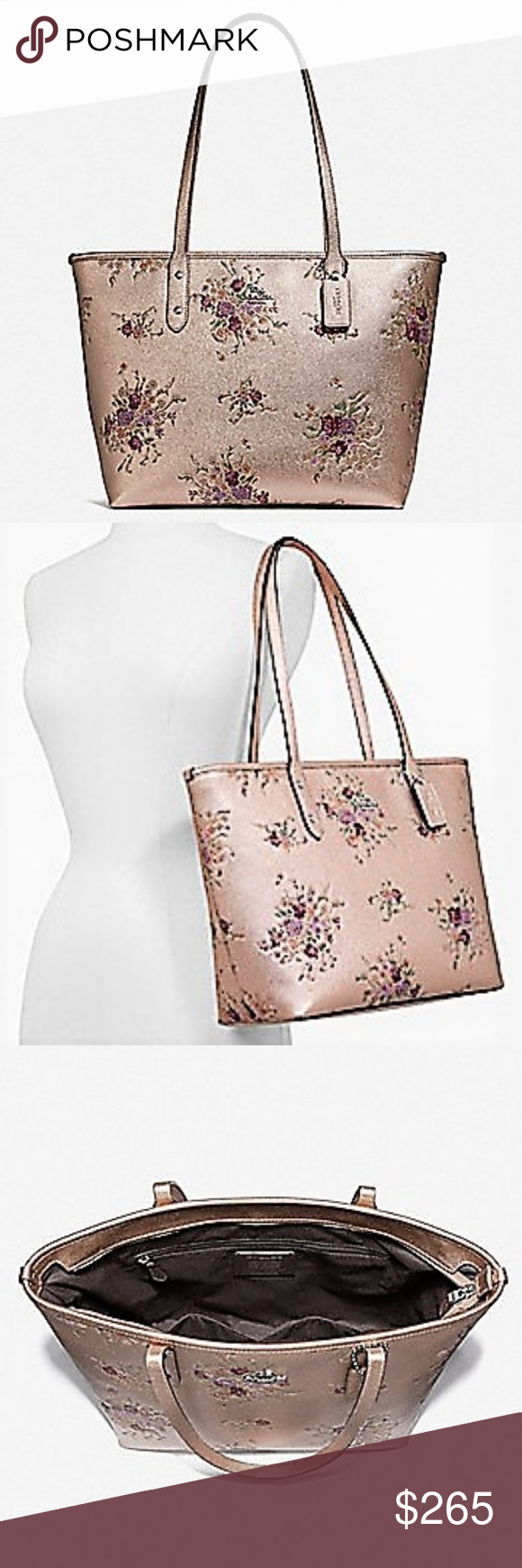 1f4051c9 NWT COACH CITY ZIP TOTE WITH FLORAL BUNDLE PRINT NWT COACH CITY ZIP ...