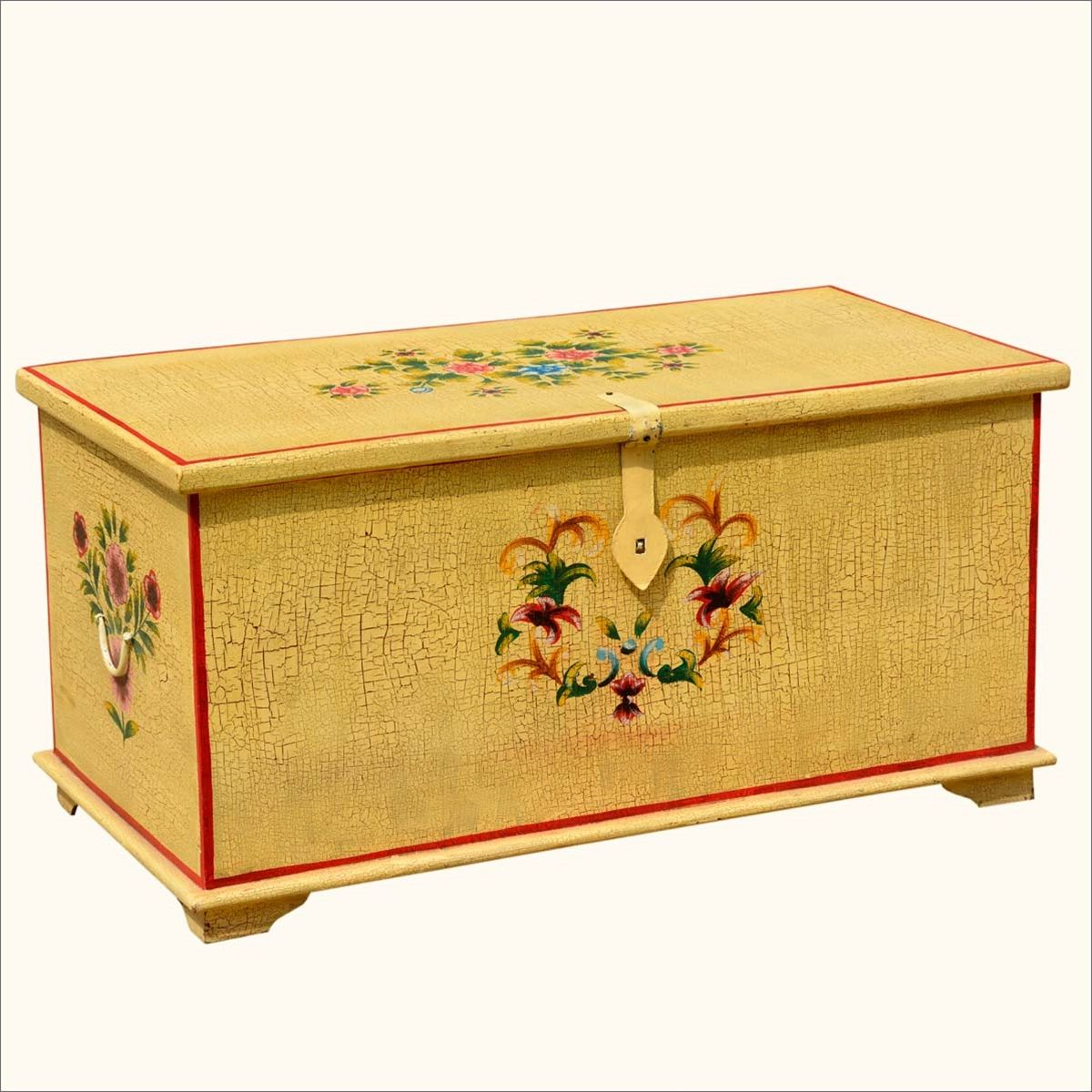 Captivating Whimsy Wood Distressed Hand Painted Storage Trunk  Http://www.sierralivingconcepts.com