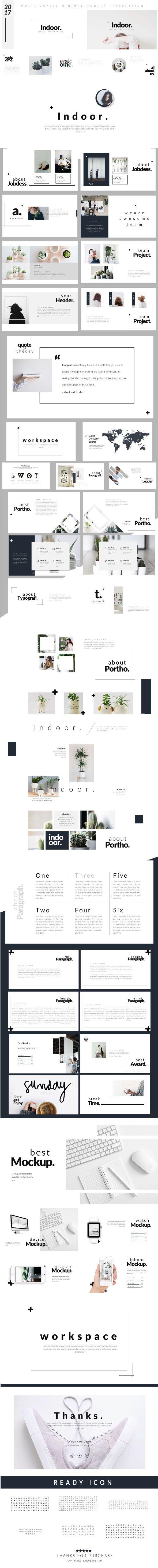 indoor - modern minimal presentation template | business, Presentation templates