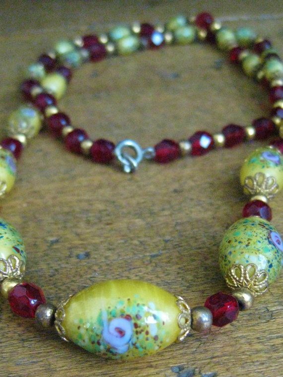 Vintage Murano Glass Bead Necklace Venetian By Brehalu On Etsy 50 00 Murano Glass Beads Glass Bead Necklace Beaded Necklace
