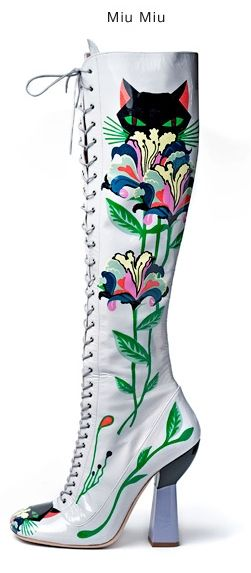 SPRING 2014 RTW Miu Miu | just because there is a cat printed on these boots :-)