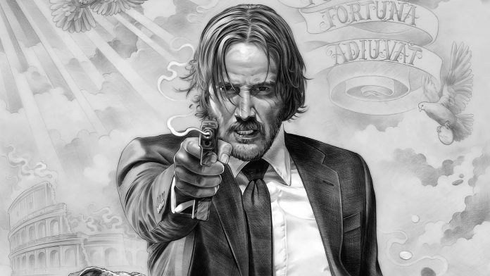 John Wick Drawing Keanu Reeves Wallpaper Elegant Suit HD
