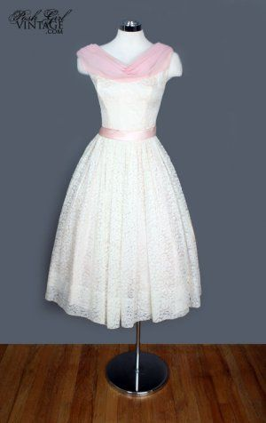 1960s Party Dress http://www.poshgirlvintage.com/1960s-ivory-pink ...