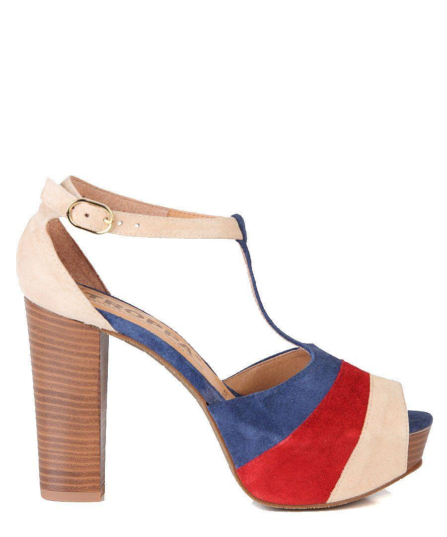 Troppa ~ Suede Contrast Heels in Red, White & Blue