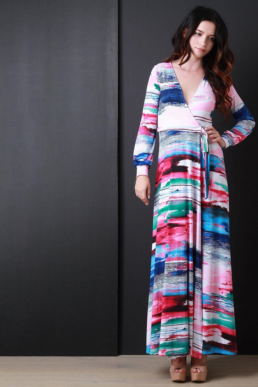 Long sleeve printed wrap maxi dress products pinterest print