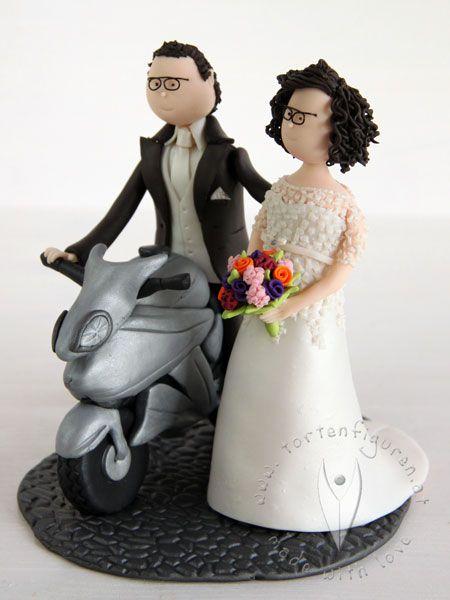 Motorrad Brautpaar Hochzeitstortenfiguren Tortenfiguren Fur Die