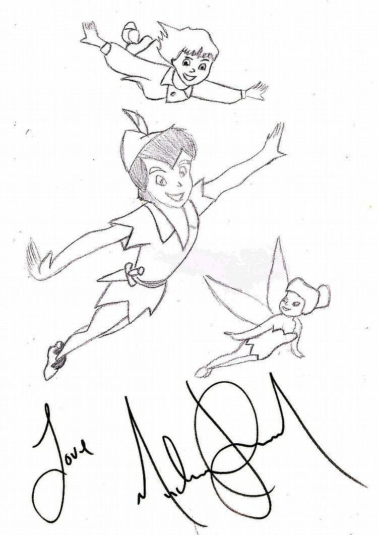 A Drawing Of Peter Pan Wendy And Tinkerbell Flying Through The Sky By Michael Jackson Loved Story Who Wouldnt Grow Up