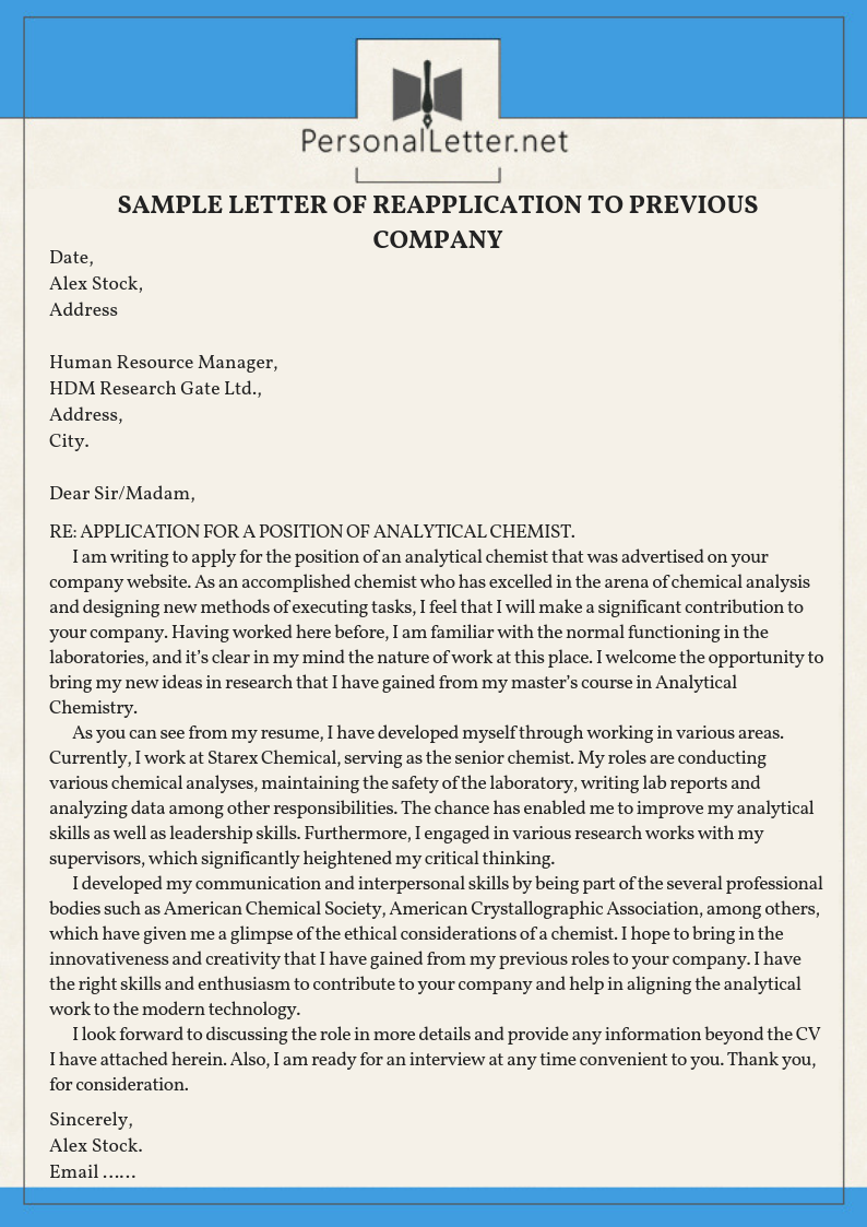 Professional Sample Letter Of Reapplication To Previous