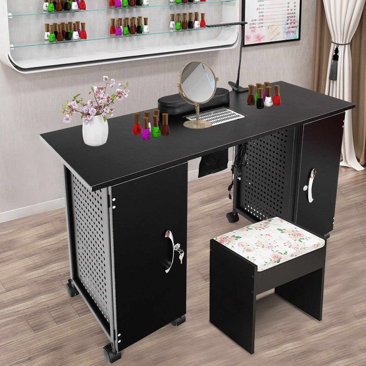 Deluxe Salon Steel Frame Manicure Table Arte com