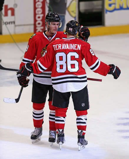 The Captain Congratulates Teuvo Teravainen After His First Game With The Hawks 3 27 14 Chicago Blackhawks Chicago Blackhawks Hockey Blackhawks