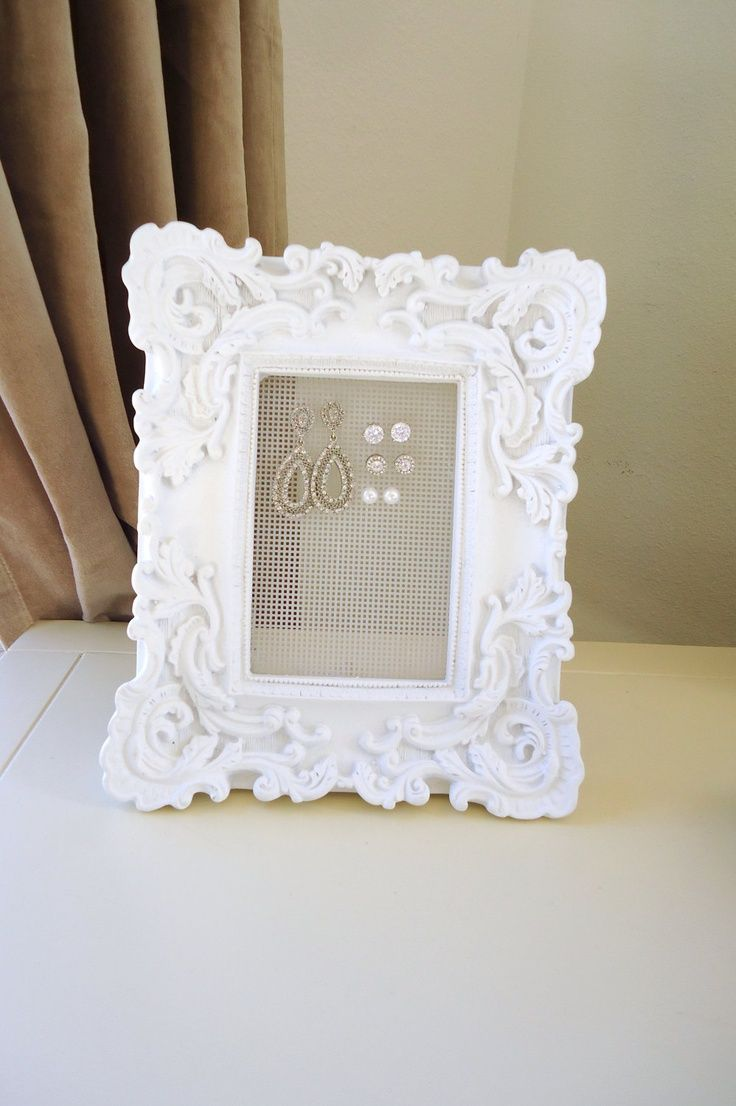 Jewelry Organizer Stud Earring Holder-Shabby Chic White Matte Frame ...