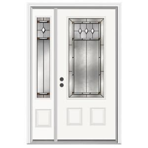 Mission Prairie 36 In X 80 In Primed White Prehung Right Hand 3 4 Lite Steel Entry Door With 12 In Sidelite On L Jeld Wen Steel Front Door Steel Entry Doors