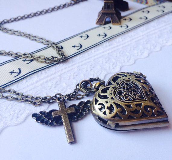 Victorian Pocket Watch necklace with cross by Victorianstudio, $19.96