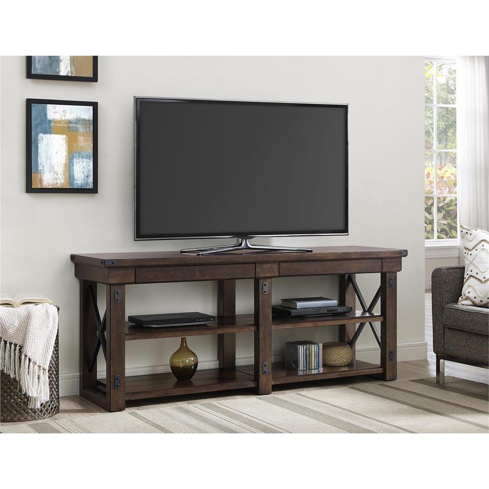 Wildwood Wood Veneer 65 in. TV Stand in Mahogany (Brown)