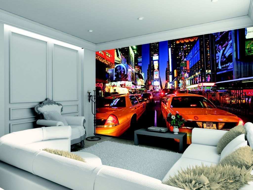 new york taxi feature wall wallpaper comes in 4 easy to hang pieces