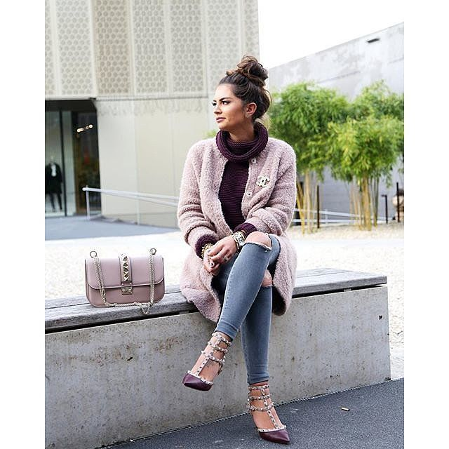 Chic in the cold with a blush faux fur coat and matching accessories