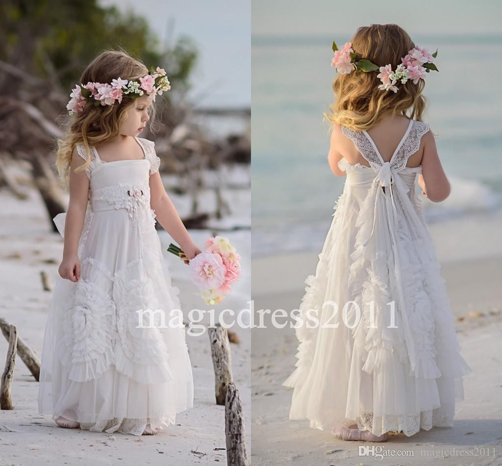 Beach wedding flower girl dresses  Cheap Boho Beach Flower Girl Dresses  Cap Sleeves Lace Chiffon