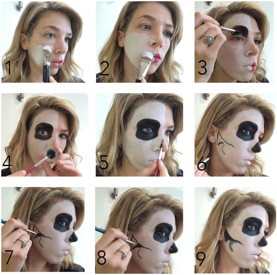 Maquillaje halloween media cara tutorial con el paso a