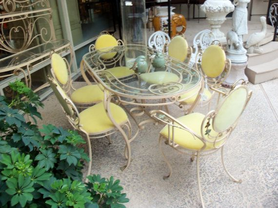 Huge Retro 1950 S Wrought Iron Patio Set