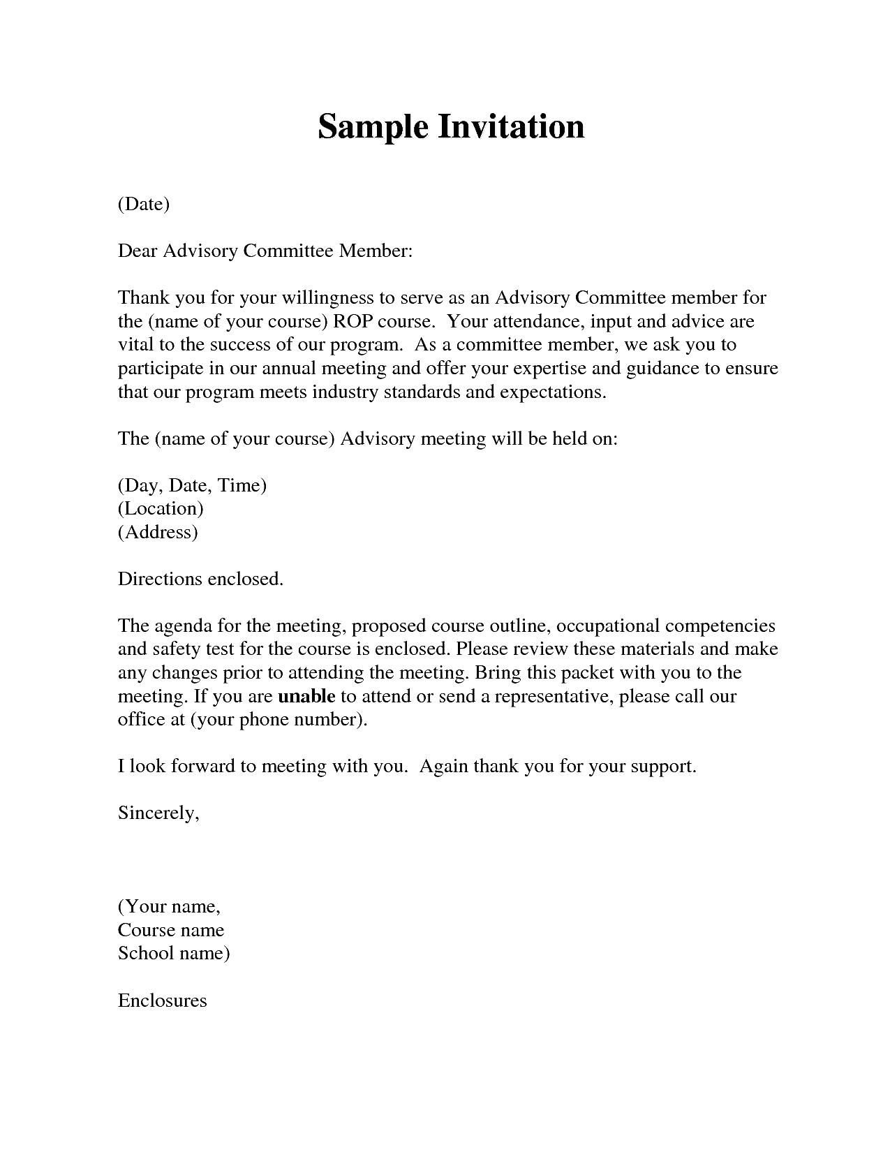 Invitation Letter Formal For Meeting How To Write A Formal Invitation Letter For A Meeting