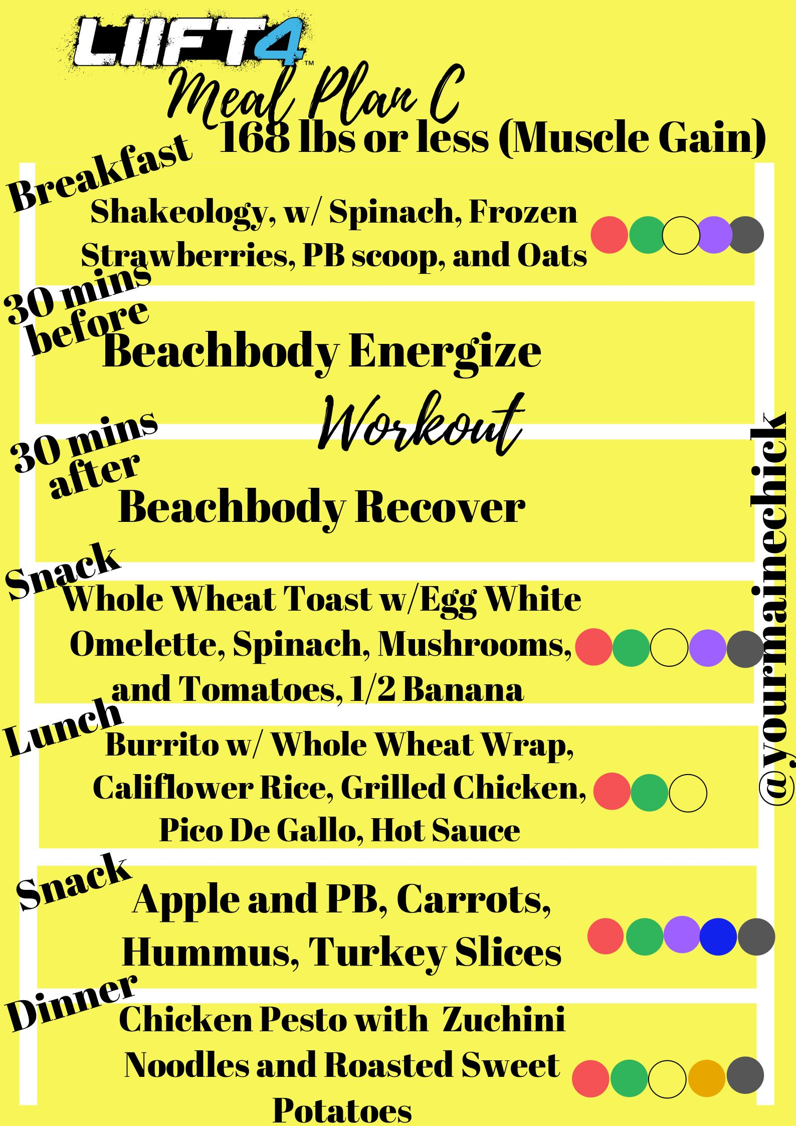 liift4 meal plan c muscle gain 168 lbs or less with beachbodyperformance beachbody mealplan. Black Bedroom Furniture Sets. Home Design Ideas