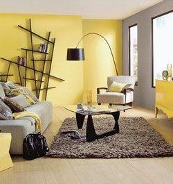 Salon - gris & jaune | déco | Pinterest