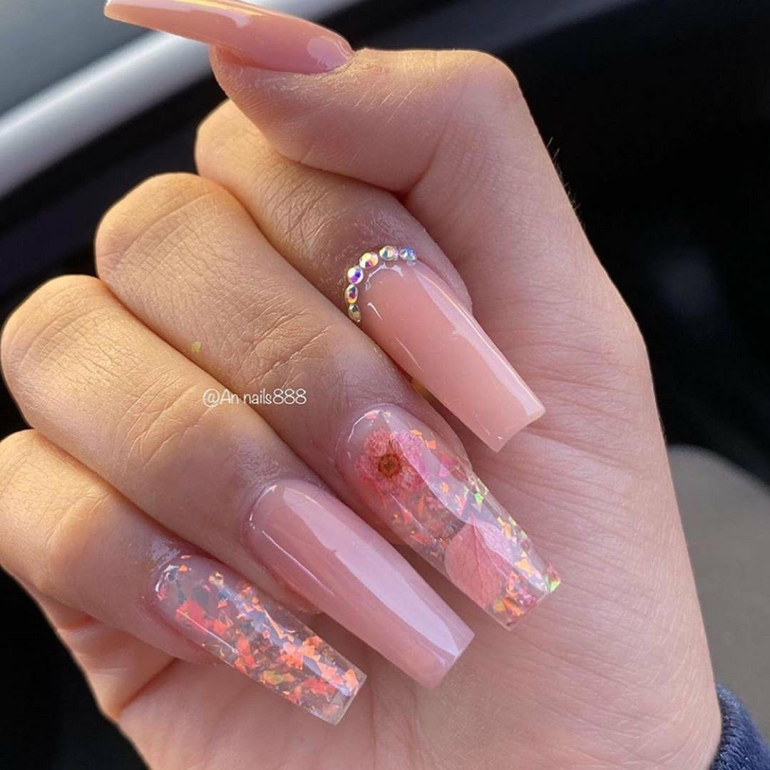 Pin On Hot Nails Trend In 2020 Blush Nails Gold Acrylic Nails Coffin Shape Nails
