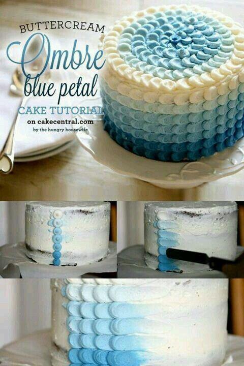 Blue ombre petal cake CAKE Buttercream Pinterest Petal cake