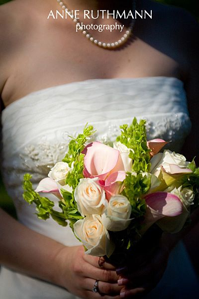 Bells Of Ireland In Bouquet With Calla Lillies And Light Pink White Roses Wedding Ireland Wedding Flower Centerpieces