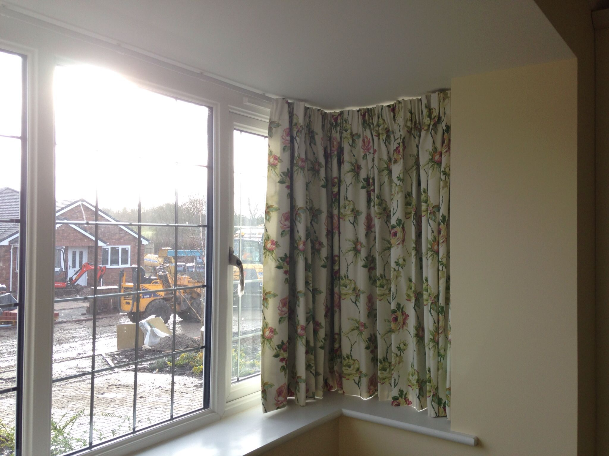 Curtain track in square bay window  Bedroom  Bay window