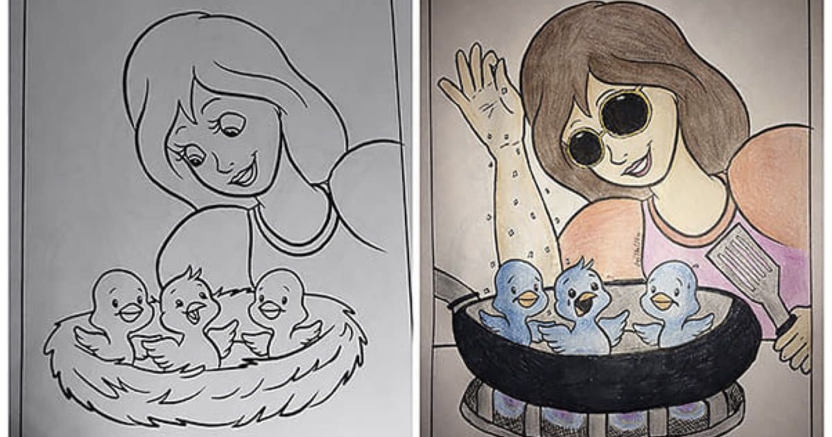 When Adults Turn Children S Colouring Books Into Dark Humoured Pictures Corrupt Coloring Book Coloring Books Funny Comic Strips