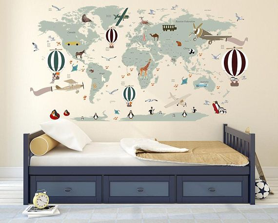 Airplane world map decal clear vinyl decal boys room decals airplane world map decal clear vinyl decal boys room decals world map mural hot air balloon world map custom name map birds walls2lifed gumiabroncs Choice Image