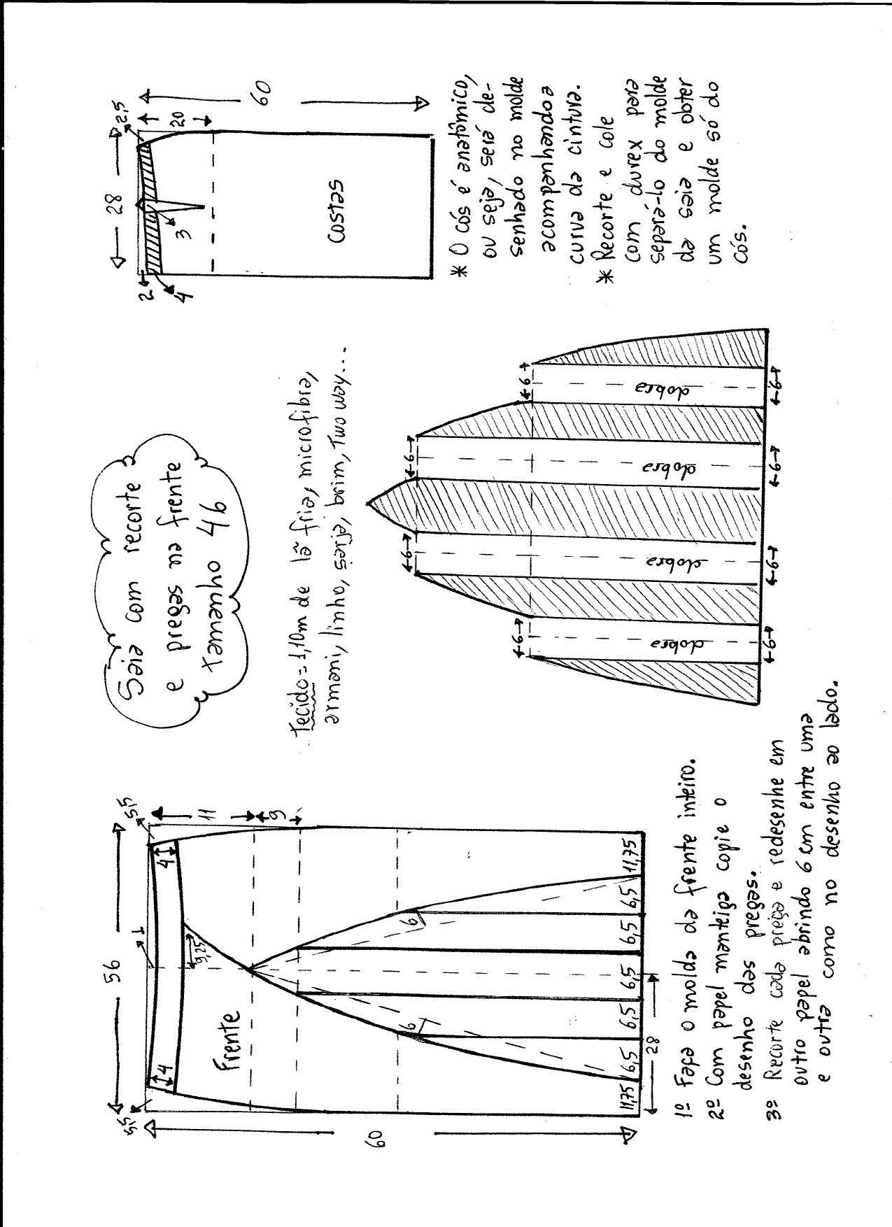 pliseli etek | Faldas | Modelagem, Padrão de costura y Pregai