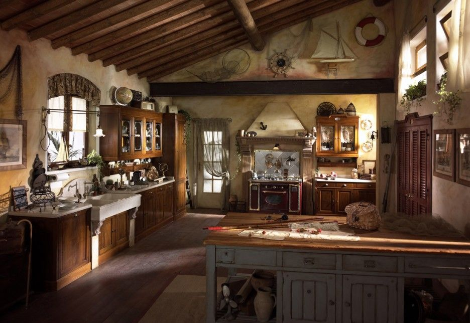 Kitchen Country Style Kitchen Designs Gallery Amazing Old Country Kitchen With Wonderful Nautical Theme